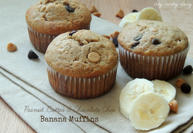 Peanut Butter & Chocolate Chip Banana Muffins