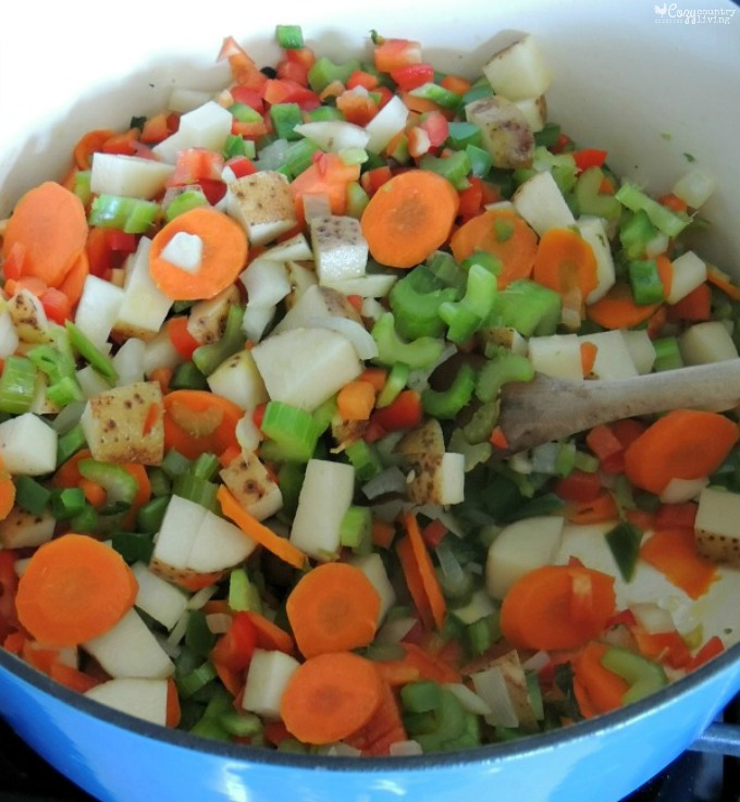 Sauteing Vegetables for Loaded Vegetable Soup