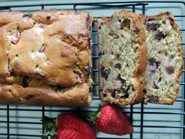 Fresh Whole Wheat Banana Strawberry Chocolate Chip Bread