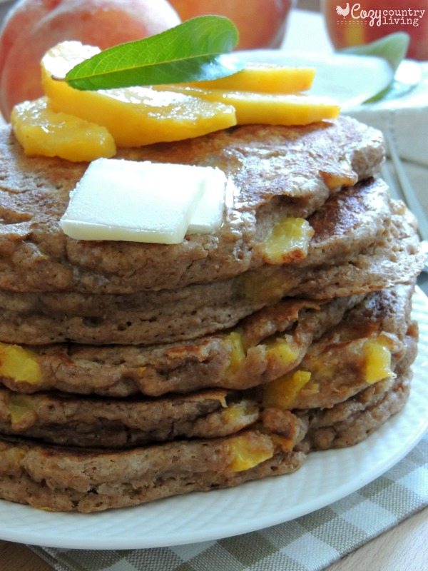 Stack of Whole Wheat Peach Pancakes Whole Wheat Peach Pancakes
