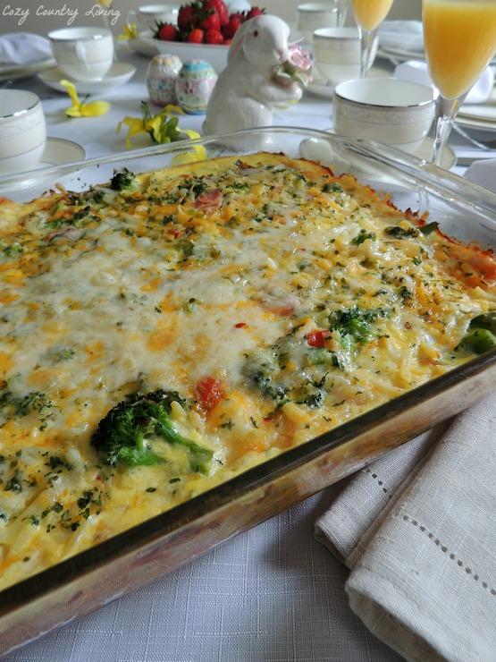 Potato, Broccoli & Pepper Jack Egg Casserole ready to be served!