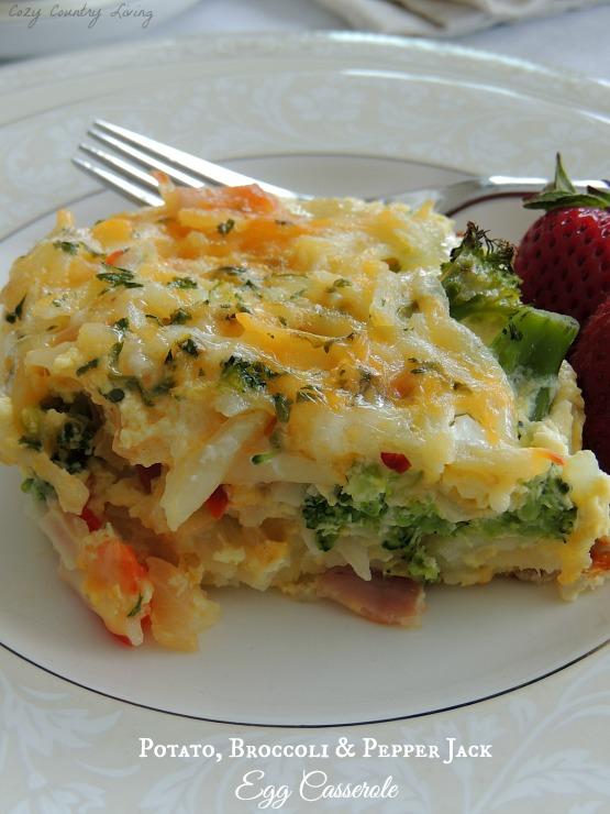 Potato Broccoli & Pepper Jack Egg Casserole